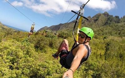 Zipline At Kualoa Ranch Oahu Hawaii