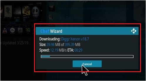 Downloading Diggz Xenon on Kodi