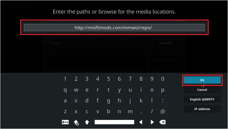Enter URL To Add Atomic Build on Kodi