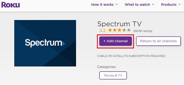 Install Spectrum TV on Roku TV
