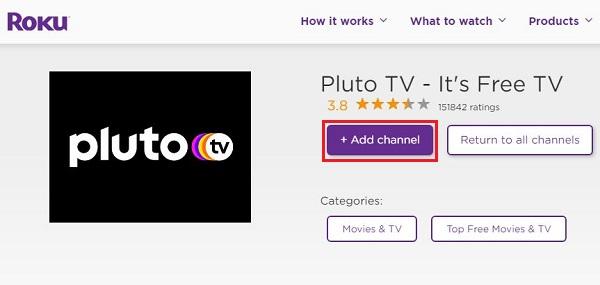 Add Pluto TV on Roku